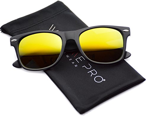 Polarized Flat Mirrored Reflective Revo Color Lens Large Horn Rimmed Style Sunglasses (Mirrored - Sunglasses Yellow Polarized