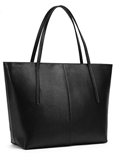 Obosoyo Women's Handbag Genuine Leather Tote Shoulder Bags Soft Hot Black ()