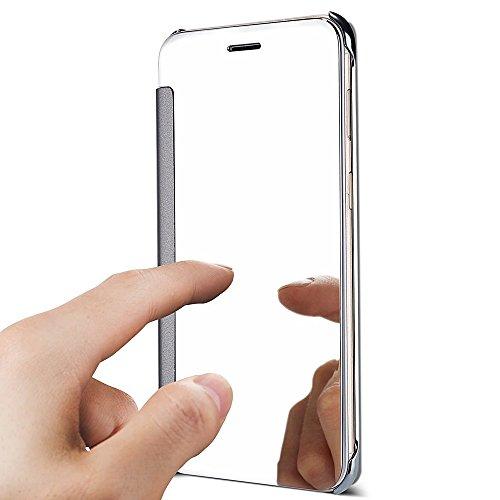 Funda Samsung Galaxy J730, Samsung Galaxy J7 2017 Mirror Flip Funda Case, PLECUPE Lujo Transparente Frente Espejo Leather Carcasa, Ultra Delgado Estilo de Libro Claro Caso Cover con Chapado Interior d Plata