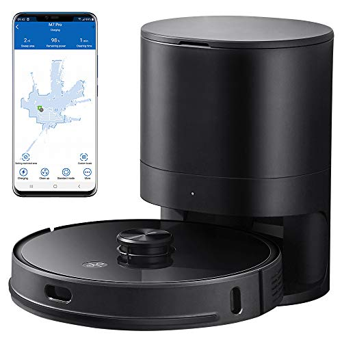 Proscenic M7 Pro LDS Robot Vacuum Cleaner, Laser Navigation, 2600Pa Powerful Suction, APP & Alexa Control, Multi Mapping, Ideal for Pets Hair, Carpets and Hard Floors, Black