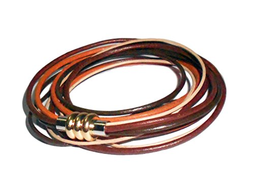 PRERNA Women's 3 Wrap Genuine Leather Bracelets (Orange) (Orange Genuine Bracelets)