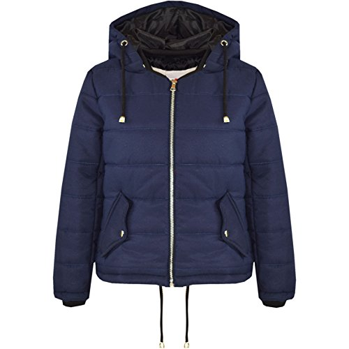 A2Z 4 Kids® Girls Jacket Kids Navy Cropped Padded Puffer Bubble Hooded Warm Coats 3-13 Years