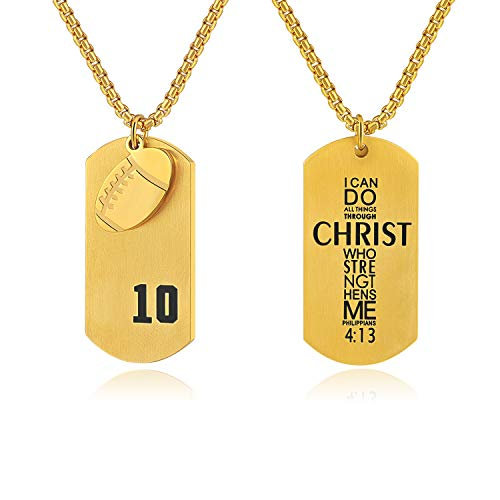 Godcow Men's Football Player No.10 Stainless Steel Cross Necklace I Can Do All Things Bible Verse Pendant (Gold) ()
