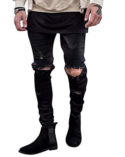 Denim Nero Dimensione Pants Slim Jeans Uomo Azzurro Fuweiencore Strappati Distrutti Motorcycle 36 colore Fit Pantaloni Da Angosciati Vintage ZPxRTwqU