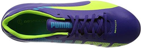 Puma evoSPEED 5.3 FG Jr - Zapatillas de fútbol infantil Prism Violet/Fluro Yellow/Scuba Blue 01