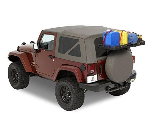 Rack Jeep Tire Spare (Bestop 41412-01 HighRock 4x4 Black Tailgate Rack Bracket for 2007-2018 2-Door Wrangler (bracket only, no shelf included))