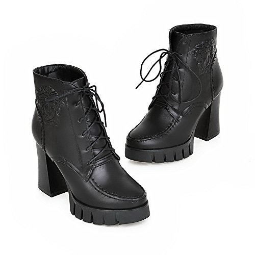 aus Damen Leder Plateau Vollspitze schwarzem 1TO9 Stiefel pZB1n1q