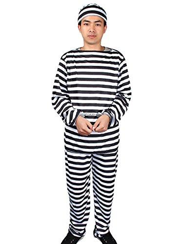 Prison Overalls Costume (Evaliana Men Prisoner Convict Striped Outfits Costume Halloween Fancy Dress Uniform)
