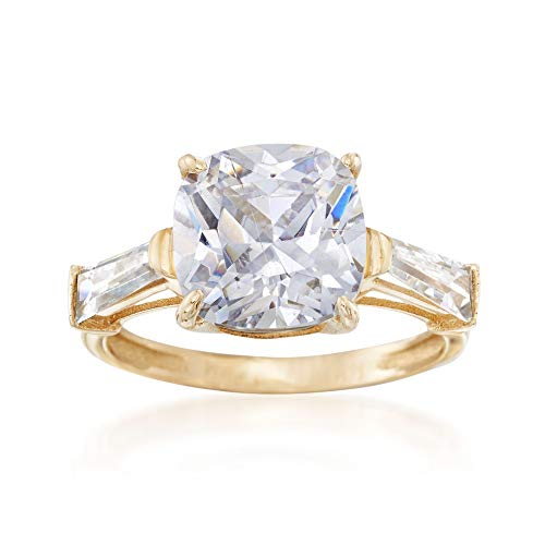 Ross-Simons 6.50 ct. t.w. Cushion-Cut and Baguette CZ Ring in 14kt Yellow -