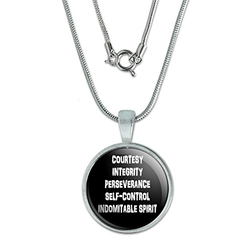 Five Tenets of Taekwondo Pendant with Sterling Silver Plated Chain