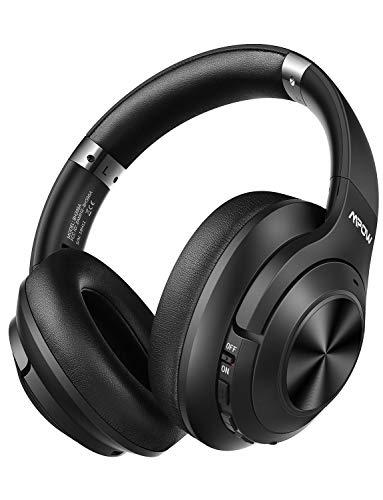Mpow Kopfhörer Active Cancellation Hybrid Noise, 65-Stunden-Autonomie, Bluetooth 5.0-Kopfhörer, CVC 6.0 und Mikrofon, Kopfhörer mit aktiver Geräuschunterdrückung für Reisen/Mobiltelefone/PC/TV