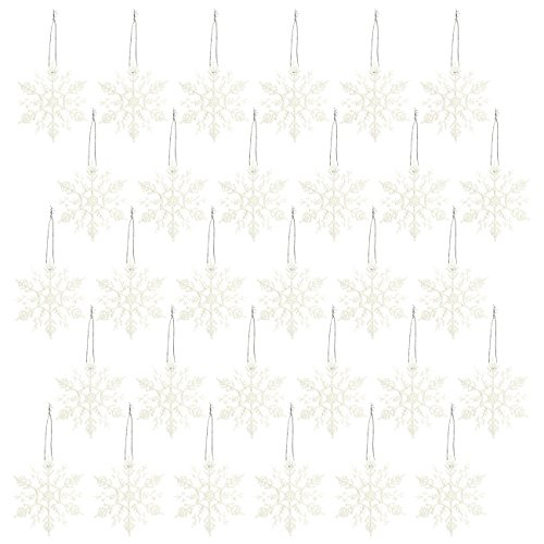 30-Pack of Christmas Tree Decorations - Snowflake Decorations, Christmas Ornaments, Festive Embellishments, White - 4 x 6.2 x 4 - Decorations Tree Christmas 2017 White