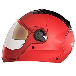 Steelbird SBA-2 7WINGS Dual Visor Helmet Inner Chrome Visor/Outer Plain Visor (Large 600 MM, Matt Sport Red)