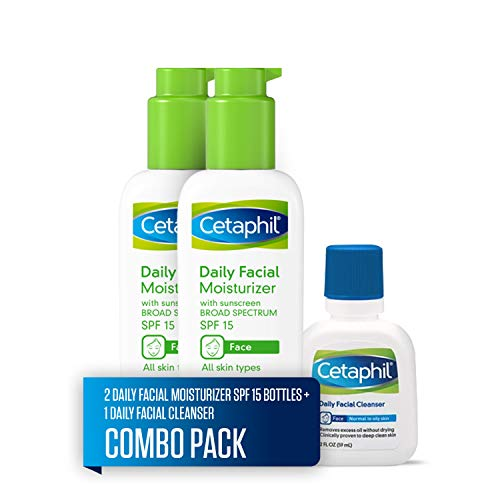 Cetaphil Daily Facial Moisturizer with Sunscreen Broad Spectrum SPF 15, Two 4-oz. Bottles, plus 2-oz. Daily Facial Cleanser (Combo Pack)
