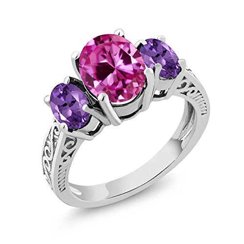 Cut Pink Amethyst Ring (3.30 Ct Pink Created Sapphire Purple Amethyst 925 Sterling Silver 3-Stone Ring (Ring Size 8))
