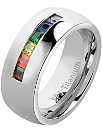 8.5mm Titanium Ring Wedding Band Rainbow Cubic Zirconia Princess Shape High Polish Band Size 5-13 SPJ