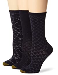 Gold Toe Women's Three-Pack Floral Diamonds And Leaf Pattern Socks