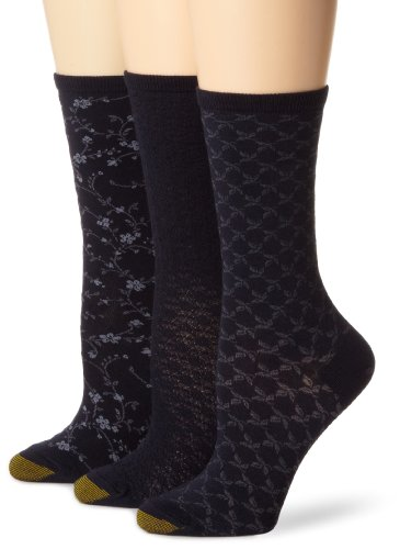 (Gold Toe Women's 3-Pack Floral Diamonds and Leaf Patterned Socks, Midnight Blue, Shoe Size:)