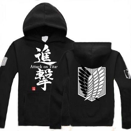 Attack on Titan Shingeki no Kyojin Cosplay Costume Anime Black Hoodie Size M