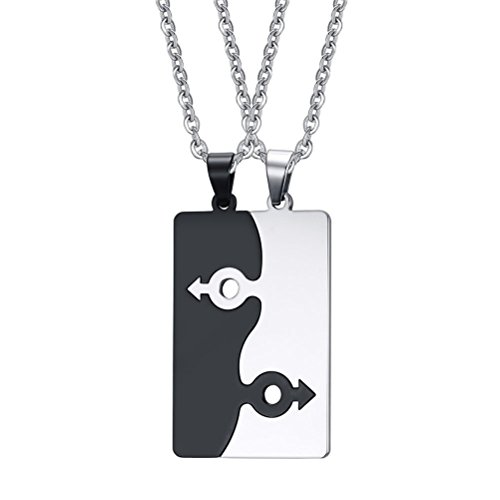 VNOX Stainless Steel Male Symbol Puzzle Couple Necklace Pendant for Best Friend Gay & Lesbian Pride