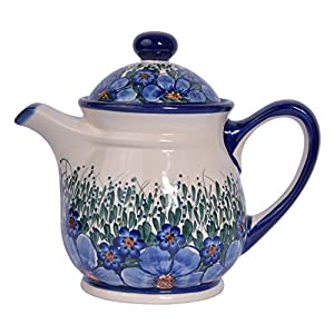 Traditional Polish Pottery, Handcrafted Ceramic 9-Cup Teapot with Lid (1500ml), Boleslawiec Style Pattern, H.601.CREDO