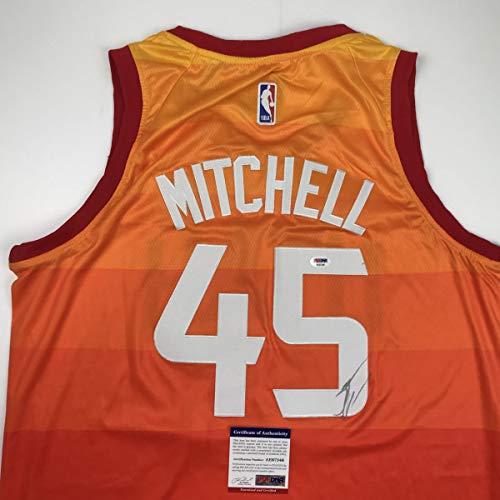 Autographed/Signed Donovan Mitchell Utah Orange Basketball Jersey PSA/DNA COA