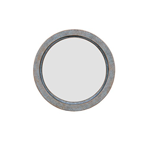 Danya B. FHB1714 Decorative Round 16-Inch Wall Mirror with Antique Copper Metal Frame - Modern Industrial Home and Office ()