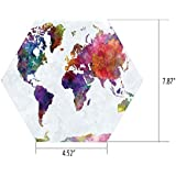 Hexagon Wall Sticker,Mural Decal,Watercolor,Multicolored Hand Drawn World Map Asia Europe Africa America Geography Print Decorative,Multicolor,for Home Decor 4.52x7.87 10 Pcs/Set