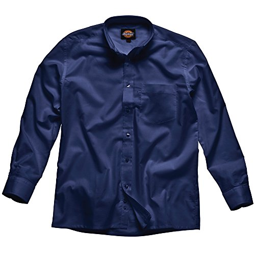 Dickies Mens Workwear Oxford Weave Long Sleeved Shirt Navy Blue Navy blue
