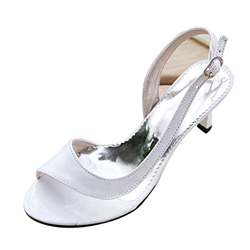 SJJH Sandals with Kitten Heel and Open Toe Working Sandals for Office Ladies White