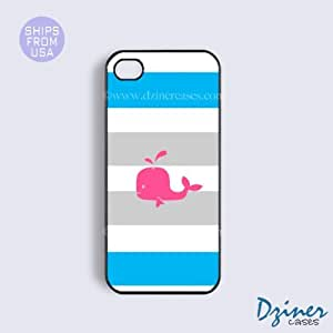 iPhone 4 4s Tough Case - Grey Blue Stripes Pink Whale iPhone Cover