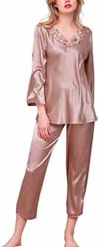 ee16b5428d Dolamen Women s Nighties Pyjamas Set Long Satin Sleepwear Nightwear Lingerie