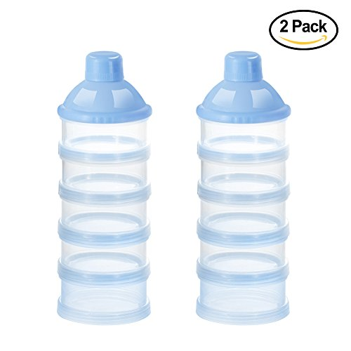 Baby Milk Powder Formual Dispenser, Non-Spill Smart Stackable Baby Feeding Travel Storage Container, BPA Free, 5 Compartments