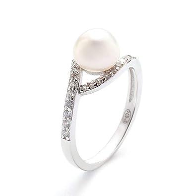 c8255023029c9 Mes-bijoux.fr Bague Argent, oxydes de Zirconium et Perle de Culture Blanche