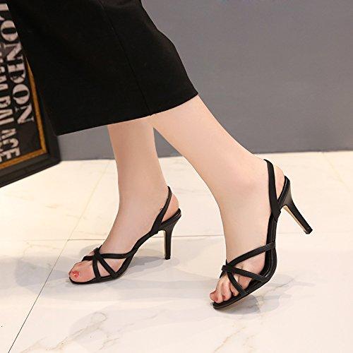 Vivioo Høje Hæle Højhælede Sandaler Sort Halv Højde Sko Tynd Strop Højhælede Sommer Åben Tå Sandaler Kvinder Guld Sandaler Sort 7,5 Cm
