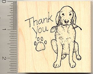 Thank You Dog Rubber Stamp - Wood - Wood Dog Stamp Rubber