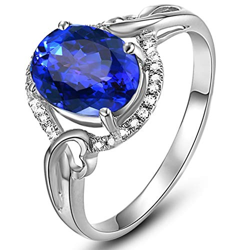 (Epinki 18K Gold Ring Oval Hollow Shape Women Engagement Ring Proposal Ring Silver Blue Tanzanite Size)