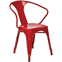 OSP Designs Patterson 30-inch Metal Frame Chair, Red, 4-Pack