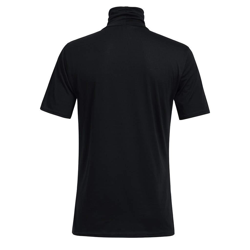 Qinnyo Mens T Shirt for Men Casual Spring Summer Solid Color Short Sleeve Turtleneck Tops Blouse Shirt Sweatshirt M-3XL