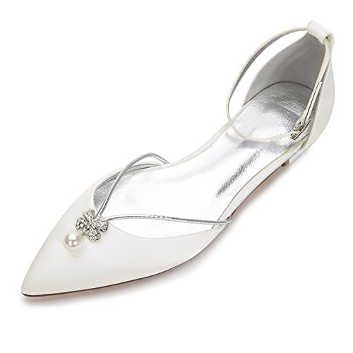 Creativesugar Lady Elegant Pointed Toe Satin Dress Flats Shoes Pearl Crystals (8.5, Ivory)