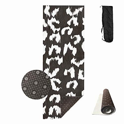 Qeeww White Leopard Yoga Mat Premium Print Non Slip Eco-Friendly Pilates Mat,White Leopard