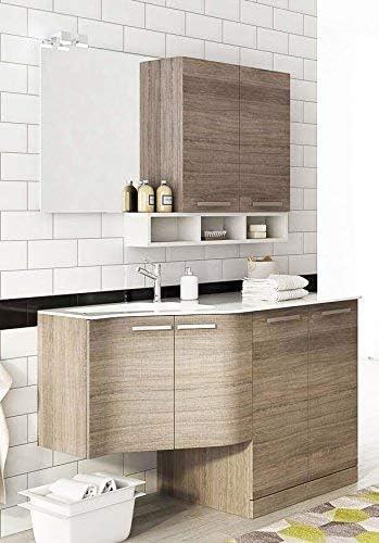 Dafne Italian Design Mueble de lavandería para lavadora, secadora y carritos de lavandería, color roble oscuro y blanco