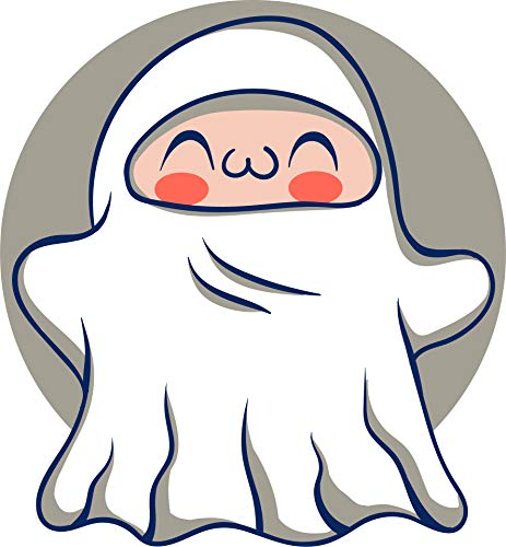 Cute Adorable Children Halloween Costume Kindergarten Cartoon Vinyl Sticker, Ghost Icon ()
