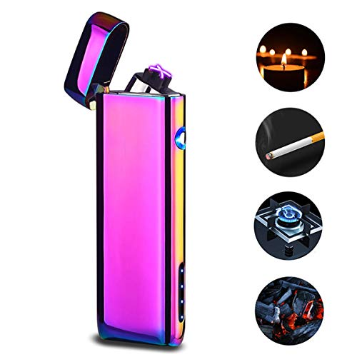 Dual Arc USB Lighter Rechargeable, Electronic Plasma Windproof Lighters Cigar Candle Cigarettes Outdoor Camping No Oil No Ga (Colored) -