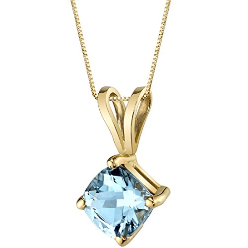 14 Karat Yellow Gold Cushion Cut 0.75 Carats Aquamarine ()