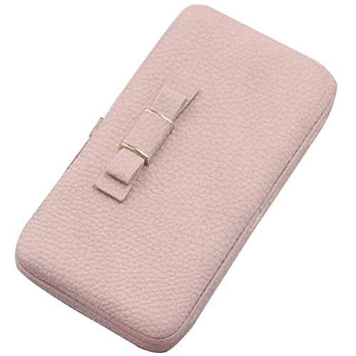 Price comparison product image Haotfire Women's Leather Clutch Checkbook Wallet Elegant Zip Around Wallet Clutch Large Travel Purse Fit Cellphone
