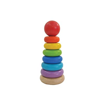 PlanToys Wooden 8 Piece Sorting and Stacking Ring Toy (5124) | Rainbow Color Collection |Sustainably Made from Rubberwood and Non-Toxic Paints and Dyes: Toys & Games [5Bkhe0502765]