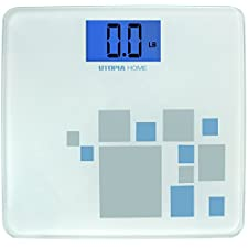 High Precision Digital Bathroom Scale with Thick Tempered Glass ≈ 400 Pounds - Utopia Home