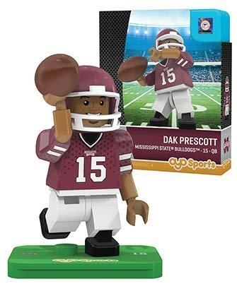 NCAA Mississippi State Bulldogs Dak Prescott Gen 2 Player Mini Figure, Small, Black Mississippi State Player