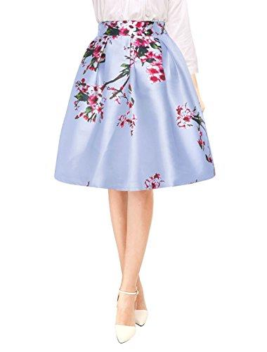 Allegra K Women's Floral Prints High Waist Pleated A Line Midi Skirt XL ()